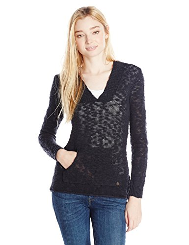 Roxy Junior's Warm Heart V-Neck Hooded Sweater, True Blac...