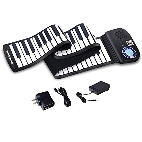 BABY JOY Roll Up Piano, Upgraded Electronic Piano Keyboard, Portable Piano w/Bluetooth, MP3 Headphone USB Input, MIDI OUT, 128 Rhythms, Record, Play, Volume Control (Black, 88Keys)