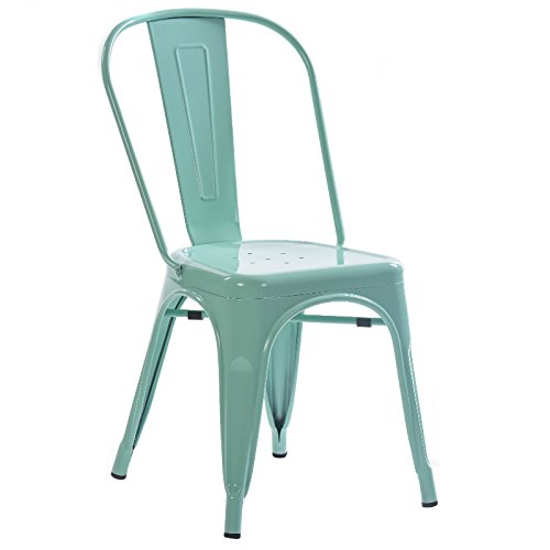 Bistros and Cafes Mellow Green Tolix Style Industrial-Chic Style Chair Powder Coated Electro-Galvanised Steel Plate Outdoor and Indoor Stackable Seat Suitable for Home