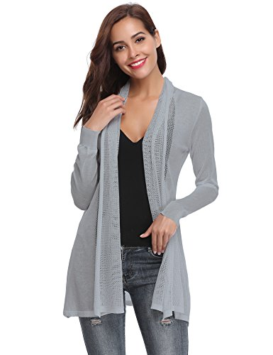 Abollria Long Open Front Lightweight Breathable Cardigans Sweaters(Gray,XL)
