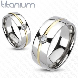(Solid Titanium Gold IP Cubic Zirconia Round Stripe Center Band Ring - Width: Size 5-8: 6mm / Size 9-13: 8mm - Sizes: 5-13)