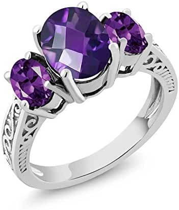 2.50 Ct Oval Checkerboard Purple VS Amethyst Gemstone Birthstone 925 Sterling Silver 3-Stone Women's Ring (Available in size 5, 6, 7, 8, 9)