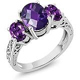 Amethyst 3-Stone Women's Ring 925 Sterling Silver Oval Checkerboard Purple VS Gemstone Birthstone 2.50 Ctw (Size 7)