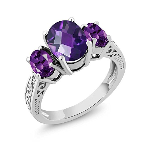 Gem Stone King Amethyst 3-Stone Women's Ring 925 Sterling Silver Oval Checkerboard Purple VS Gemstone Birthstone 2.50 Ctw (Size 7)