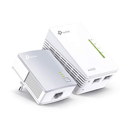 TP-Link TL-WPA4220 KIT – 2 Adaptadores de Comunicación por Línea Eléctrica (WiFi AV 600 Mbps, PLC con WiFi, Extensor…