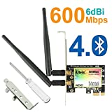 WiFi Card AP 600Mbps,Wireless Network Card,WLAN WiFi Adapter with Bluetooth 4.0,Ubit 3422 Dual-Band 300Mbps PCI-E Express Adapter Network Card,2x3.5dBi Antenna for Desktop PC Adapter