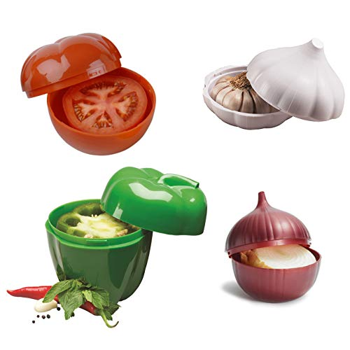 (4 Piece Food Savers Set Capsicum Tomato Garlic Onion, Vegetable Container, Veggie Saver)