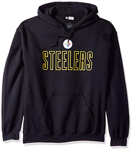 Zubaz NFL Pittsburgh Steelers Men's Open Letter Logo Hoodie, Large, Black (Jersey Screen Classic Print)