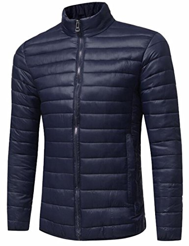 Fly Year-uk Men's Winter Lightweight Stand Collar Packable Down Jacket Navy blue