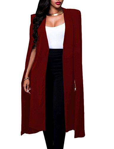 (Women's Long Open Slit Sleeve Cloak Capes Jacket 4XXL Open Front Long Slit Blazer Cape Coat Plus Size(WR-3XL))