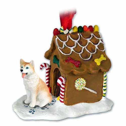 (Siberian Husky Gingerbread House Christmas Ornament Red-White Blue Eyes - DELIGHTFUL!)