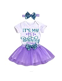 YAYAbaby Newborn Baby Girls It's My 1st Birthday Infant Outfits Romper Shiny Printed Sequin Bowknot Tutu Skirt Dress Purple