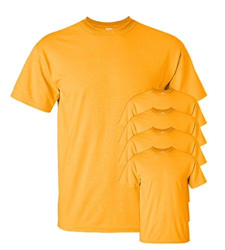 Gildan Men's Seamless Double Needle T-Shirt, Gold, 2XL (Pack of 5) ()