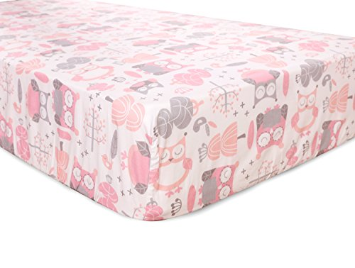 Levtex Home Baby Night Owl Collection Print Fitted Crib Sheet, Pink/Grey