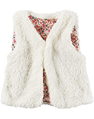 Baby Girls' Faux Fur Open Front Vest (24 months)