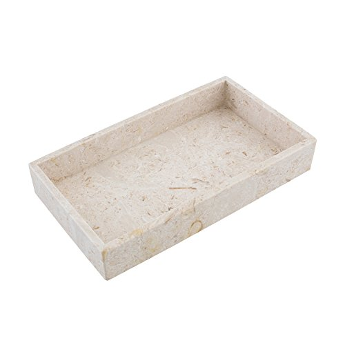 """MAYKKE Hudson 12"""" Rectangle Display Tray Organizer Contemporary Jewelry Storage Vanity Cosmetic Makeup Catchall for Home Office, Bathroom, Bedroom, or Kitchen Golden Cream Marble YOA1160601"""