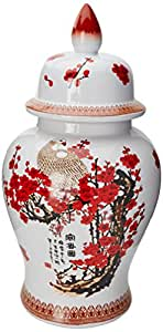 "Oriental Furniture 18"" Cherry Blossom Porcelain Temple Jar"