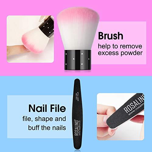 Nail Dip Powder Colors Kit Rosalind with 12 Colors Glitter Dipping Powder Nails Kit for Nail Manicure Nail Art and Protecting Your Nail Bed No UV/LED Nail Lamp Needed