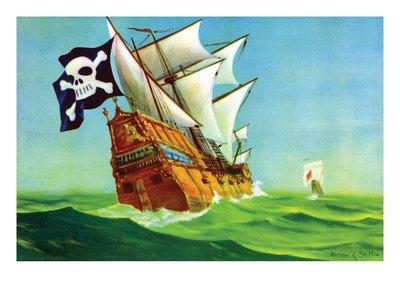 Pirate Ship Art Poster Print by Anton K. Skillin