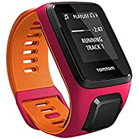 Tom Tom Runner 3 GPS Running Watch with Heart Rate Monitor and Music - Small Strap, Dark Pink/Orange