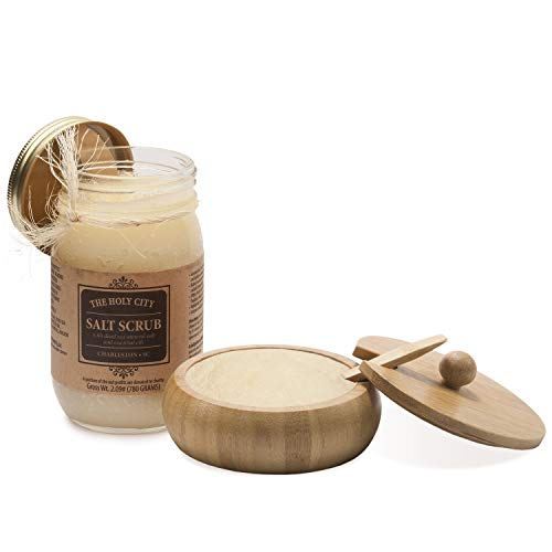 Exfoliating Body Scrub - Pure Dead Sea Salt Scrub for Hands and Body, 16 fl oz Hydrating Moisturizing Skin Care Gift Set incl. Bamboo Bowl with Lid & Spoon (Ginger Verbena)