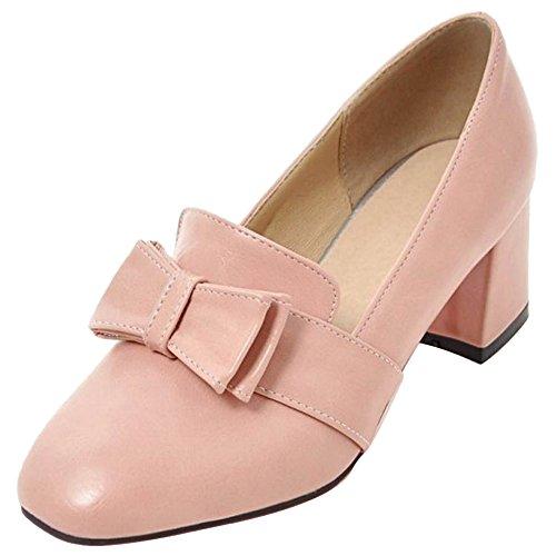 Moda Pumps A TAOFFEN Blocco Pink Tacco Donna Zq8wwrX5