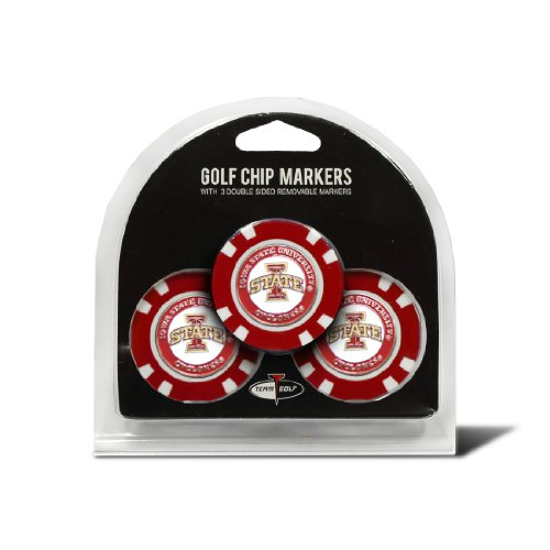 Team Golf NCAA Iowa State Cyclones Golf Chip Ball Markers (3 Count), Poker Chip Size with Pop Out Smaller Double-Sided Enamel Markers
