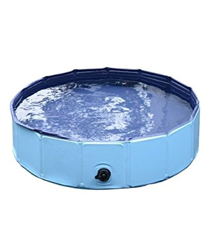 Dog Paddling Pool for Pets Portable Outdoor Garden Pool for Dogs and Puppies with cover sturdy non inflatable (Size Small  Diameter 80cm x H 20cm)
