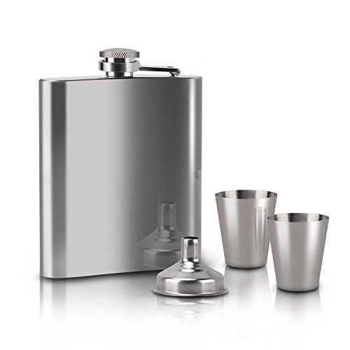 Moobom-Flask-7-Oz-Stainless-Steel-Hip-Flask-Set-with-Two-Shot-Glasses-and-Funnel-Slim-Light-And-Curved-to-Fit-Your-Pockets