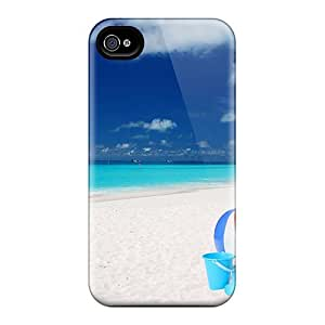 For Iphone 4/4s Tpu Phone Case Cover(dog On Beach) by mcsharks