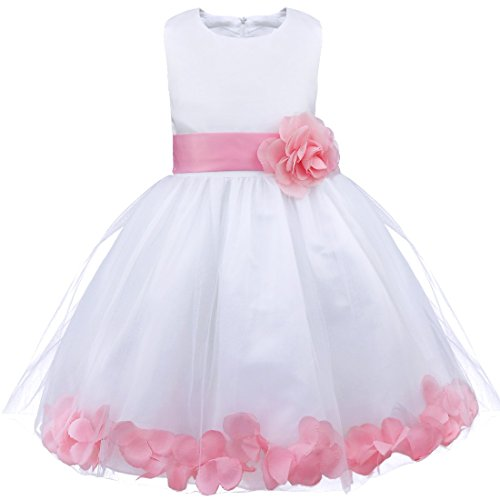 iiniim Girls Petals Tulle Princess Wedding Pageant Party Flower Girl Dress White Pink 2 (Petals Dress Tulle Satin White)