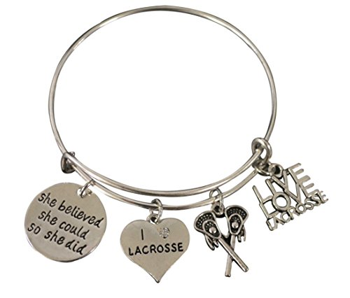 Infinity Collection Lacrosse Charm Bangle Bracelet, Girls Lacrosse She Believed She Could So She Did Jewelry Lacrosse Gifts For Female Lacrosse Players by Infinity Collection (Image #6)'