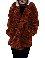 Asskdan Women's Open Front Fuzzy Cardigan Warm Fleece Jacket Coat Long Sleeve Oversized Coat Outwear with Pockets