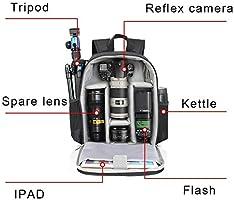 Bolsa de la cámara Cámara Multifuncional Mochila réflex Digital ...