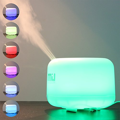 MIU COLOR 500ml Aromatherapy Essential Oils Diffuser, 7 Color Changing Aroma Diffuser, Large Mist Humidifier, Aromatherapy Diffuser