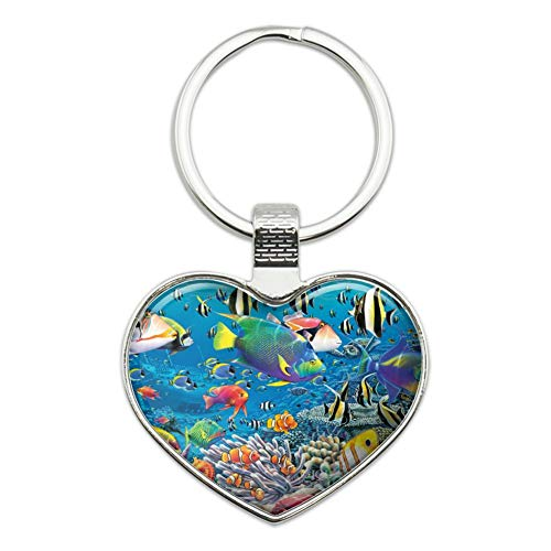 - Ocean Coral Reef Angel Clown Fish Diving Heart Love Metal Keychain Key Chain Ring