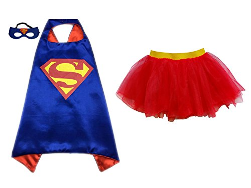 Superhero or Princess TUTU, CAPE, MASK SET COSTUME - Kids Childrens Halloween (Superman Blue - Red & (Easy Halloween Costumes Men)