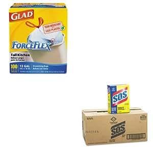 KITCOX70427COX88320CT - Value Kit - Clorox Steel Wool Soap Pad (COX88320CT) and Glad ForceFlex Tall-Kitchen Drawstring Bags (COX70427)