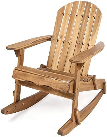 Christopher Knight Home Malibu Outdoor Acacia Wood Adirondack Rocking Chair, Natural Stained
