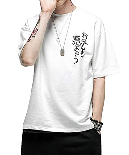 AITFINEISM Men's Hipster Hip Hop Graphic Print Loose Crewneck T-Shirt (Large, White)