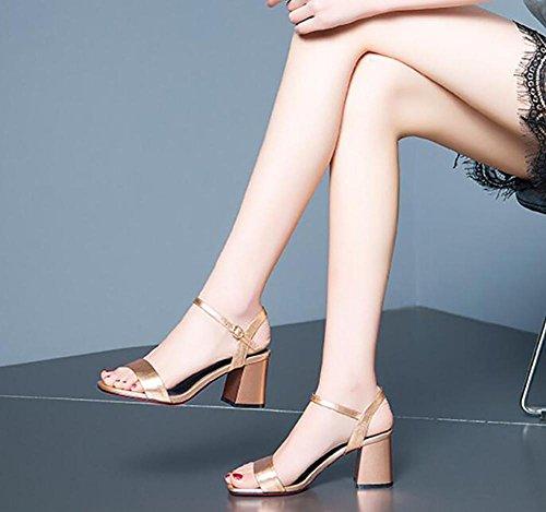 2017 sandalias femeninas del verano nuevas ásperas con la hebilla abierta de la palabra del cuero del dedo del pie zapatos de cuero simples de las sandalias de tacón alto 2
