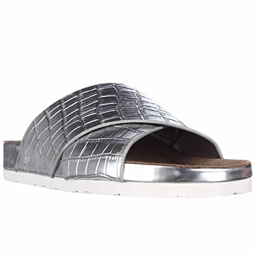 Sam Edelman Women's Adora Cross Strap Sandals, Soft Silver, 9 B(M) US