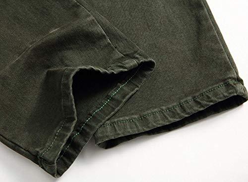 Jeans Stile Denim Uomo Pantaloni Multitasche In Fit Di Per Semplice Intera Slim Elasticizzato Vita Dritto Resistenti Con Cargo A Verde Pantalone Base wqY6rxtAq