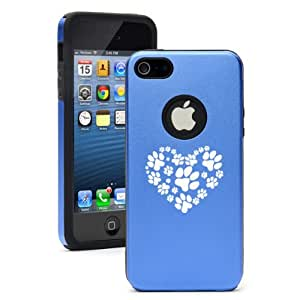 """Apple iPhone 6 Plus (5.5"""") Aluminum Silicone Dual Layer Hard Case Cover Heart Paw Print (Blue)"""