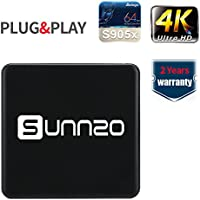 (2017 New Arrivals) SUNNZO H2 Android 6.0 TV BOX/Streaming Device with Amlogic S905X 64 Bits 1GB/8GB eMMC WiFi and True 4K Playing