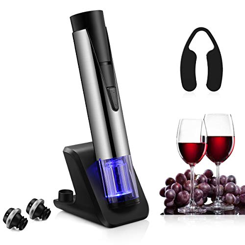 Electric Wine Bottle Opener with Wine Preserver 2-in-1 Vacuum Pump and Bottle Opener with Markable Wine Stopper, Foil Cutter and Collectible Recharging Base (18/8 Steel) by CUSIBOX (Image #9)
