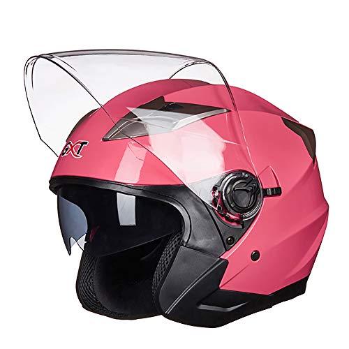 GHL Motocicleta Casco Lente Doble Medio Sobre Seguridad Sombrero Hombre Mujer Coche Eléctrico Medio Casco,Pink,M