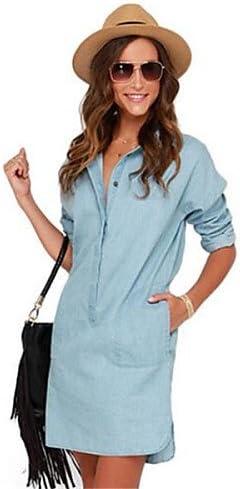 Mujer Vestidos Casual 2016 Verano Mujer Street Chic Sólido Suelto Vestido, Camisa cuello por encima de rodilla Nylon, blue-s, blue-s, color azul, tamaño medium: Amazon.es: Deportes y aire libre