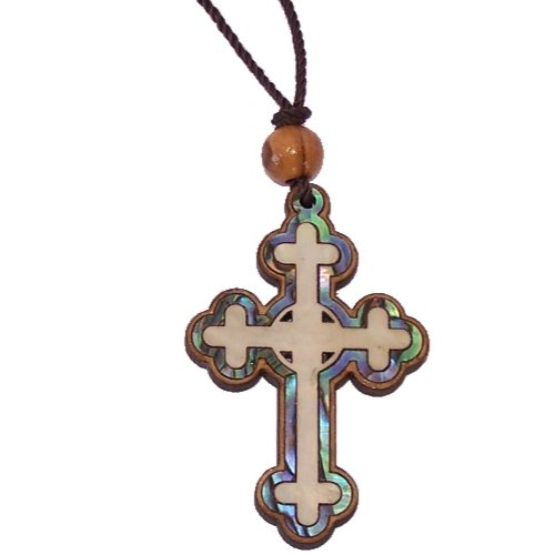 Celtic Olive wood Crucifix with Mother of Pearls (60cm / 23.5 inches, Cross is 5cm or 2 inches)