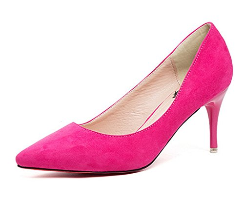Bumud Womens Low Mid Heels Shoes Leather Pointed Dress Pumps Hot Pink E7kOLYDy